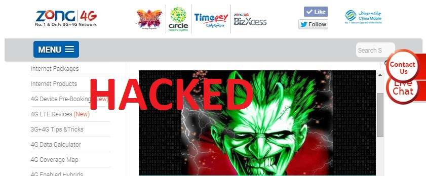Zong Website gets hacked  Mobile Phone Collection